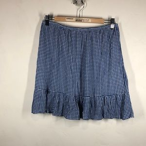 French Grey blue gingham print skirt size large